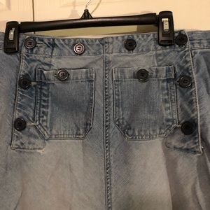 Long Jeanology Button Front Skirt